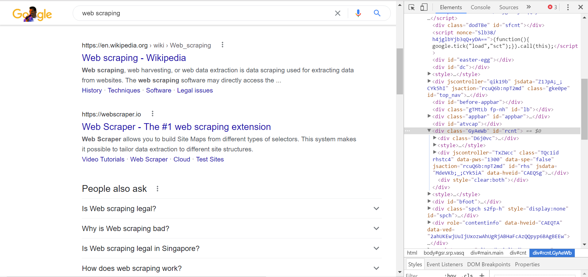 HTML source code for Google.com search query webpage