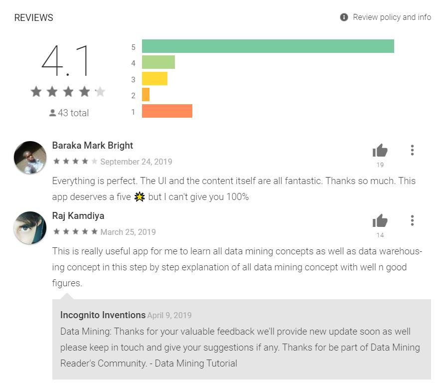 Screenshot of app reviews in Google Play store